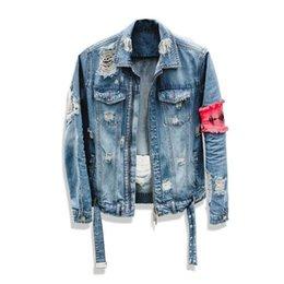 Os homens de Jean Jacket Streetwear Hip Hop vôo Denim Jacket homens Marca Ripped Denim Casual Jacket Moda Masculina M-2XL YX01 venda por atacado