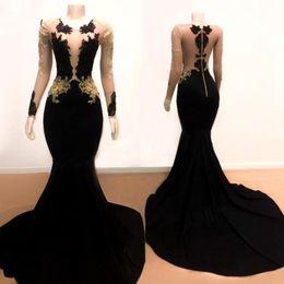 Sheer Black Dress Australia - Black Mermaid Prom Evening Dresses 2019 Sheer Crew Illusion Long Sleeve Zipper Lace Party Cocktail Dress Evening Gowns vestidos de fiesta