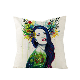 $enCountryForm.capitalKeyWord Australia - Modern Girl Linen Fabric Pillow Case Digital Printed Single Soft Character Chair 44*44cm