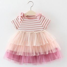 Cupcake Tutu NZ - Girls Dresses 2019 Girl Birthday Dress Newborn Baby Summer Princess Cupcake Striped Bow-Sleeve Dresses Baby Clothing