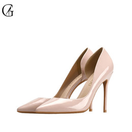 e9227ad2c39 GOXEOU 2018 Women shoes High Heels Sexy Pointed Toe Slip-on Wedding Office  Patent Leather Handmade Free Shiping plus size32-46  9584