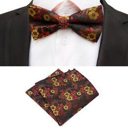$enCountryForm.capitalKeyWord Australia - Gold Bowtie Formal Paisley Flower Necktie Boy Men's Fashion Business Wedding Bow Tie Male Dress Shirt gift Pocket Square Sets