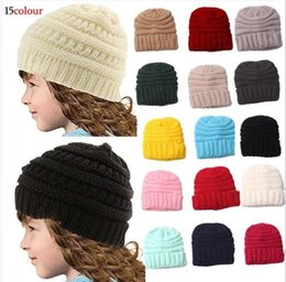 crochet beanie Canada - New Trendy Kids Beanies Crochet Caps Kids Knitted Winter Warm Beanie Hats Baby Crochet Hats Outdoor Kids Stretchy Beanie Caps 1-4Y 100pcs