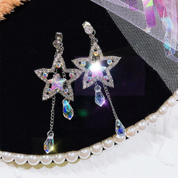 Earrings Korea Europe Australia - S925 silver pin Europe and the United States long stars tassel earrings women South Korea simple crystal five-pointed star earrings female
