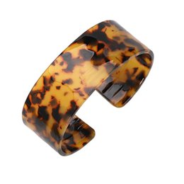 brown wide bracelet NZ - Fashion Cuff Acrylic Wide Bangles Bracelet For Women Vintage Round Trendy Wedding Jewelry Leopard Brown