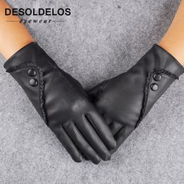 warm leather mittens Australia - 2019 Fashion Women christmas gloves warm Lady Soft Leather Gloves Winter Warm Mitten Xmas Gift Black Mittens