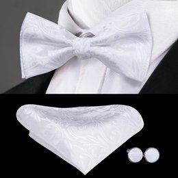 black white floral handkerchief UK - Hi-Tie Fashion Bowties Men White Floral Male Marriage Butterfly Wedding Bow ties With Handkerchief Cufflinks Freeing Shipping LH-790