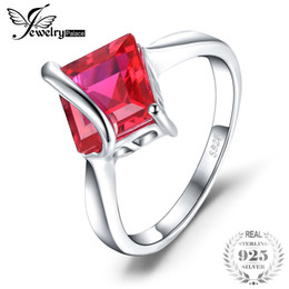 Ruby Charms Australia - JewelryPalace Classic 3.32ct Square Created Ruby Engagement Ring For Women Gift Solid 925 Sterling Silver Charms Brand Jewelry J190523