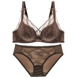 ff27e215d9ea wholesale New Top Sexy Underwear Set Push-up Bra and Panty Sets 3 4 Cup  Brand Lace Lingerie Set Deep V Intimates Bralette set