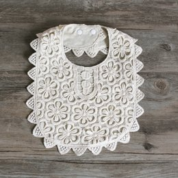 white lace bibs Australia - New High Quality Baby Girls 100% Cotton Lace Bibs Baby Burp Cloths 0-3year