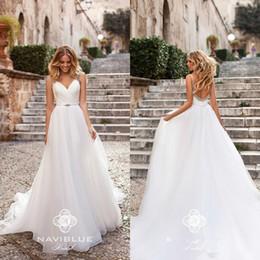 $enCountryForm.capitalKeyWord Australia - summer Bohemian 2020 A Line Wedding Dresses V Neck Beads Backless Sweep Train Boho Bridal Party Gowns Plus Size Vestidos De Noiva