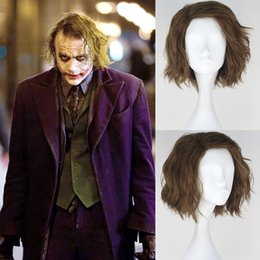 Knight Hair Australia - Costumes Accessories Shoes Movie Batman The Dark Knight Joker Men's Curly Light Brown Anime Cosplay Wigs Blonde Synthetic Short Hair Bunches