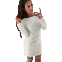 $enCountryForm.capitalKeyWord Australia - Women Winter Casual Solid Fleece Warm Mini Dresses Autumn Ladies Long Sleeve Simple Design Sexy Hip Package Party Dress #yl designer clothes