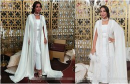 $enCountryForm.capitalKeyWord UK - Dubai Muslim Evening Dresses White Sequins moroccan Kaftan Chiffon Cape Prom Special Occasion Gowns Arabic Long Sleeve Dress Evening Wear