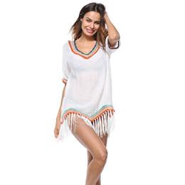 $enCountryForm.capitalKeyWord Australia - Long Beach white Dress 2019 Women bikini cover up Tassel Swimwear Ladies Chiffon fringed ball beach blouse