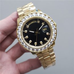 Wholesale Relogio Gold Men Automatic Iced Out Watch Mens Daydate President Diamond Wristwatch Colors Reloj Big Watches