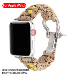 $enCountryForm.capitalKeyWord UK - For Apple Watch iWatch Band 44mm 42mm 38mm Woven outdoor band camouflage umbrella rope lifesaving strap for Apple Watch4 3 2 1