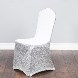 wholesale wedding chair cover spandex NZ - 6Cheap Universal Wedding White silver Chair Covers for Restaurant Banquet Hotel Dining Party Lycra Polyester Spandex Chair Cover
