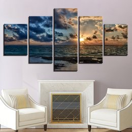 $enCountryForm.capitalKeyWord Australia - HD Printed Canvas Poster 5 Panel Sunrise Seascape Home Decoratives Living Room Modular Pictures Framework Wall Artwork Painting