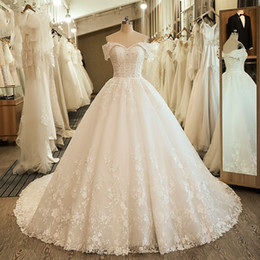 White princess ball goWn Wedding dresses online shopping - Off the Shoulder Wedding Bridal Dresses flowers details sweetheart Ball Gown Embroidery Lace applique Boho Wedding Dress corset back