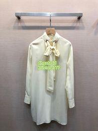 silk stand 2019 - High End Women Brand 100% Silk Shirt Dress With Ribbon Button Feminine High Quality Casual Shirts Girls Brief Runway Tee