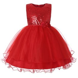 Chinese  Girls Solid Color Dress Round Neck Sleeveless Flower Mesh Sequined Party Dress Girls Princess Lace Designer Dress manufacturers