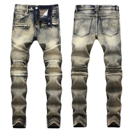 Brown Ripped Jeans NZ - Ripped jeans Skinny Pants Casual Luxury Jeans Men Fashion Distressed Ripped Slim Motorcycle Moto Biker Denim Hip Hop Pants 28-40