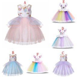 $enCountryForm.capitalKeyWord Australia - Baby girls unicorn dress children TUTU lace Tulle princess dresses cartoon 2019 summer Boutique kids Clothes 6 colors MMA1565 36pcs