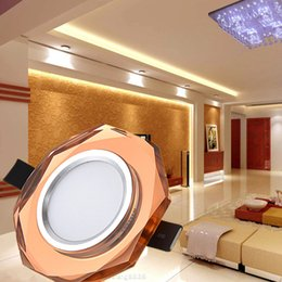 small room beds NZ - Crystal Ceiling Light Modern 3W LED Crystal Lamp Small Aisle Corridor Light Porch Downlight Ceiling Lamp for Living Room