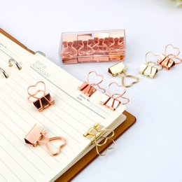 $enCountryForm.capitalKeyWord Australia - 10pcs Fashion Gold Rose Gold Color Binder Clip Hollow Out Heart Shape Metal Binder Clips Photos Tickets Notes Letter Paper Clip