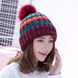 ladies knitted winter hats Australia - hats designer hat Keep Warm Thin Elegant Women Girl Knitted Hats Warmed Fur Cap Autumn Winter Ladies Female SK86-2