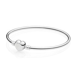 $enCountryForm.capitalKeyWord Australia - Authentic 925 Sterling Silver Bracelet Signature Love Heart Clasp Bangle fit Lady Bead Charm Pendant Dangle