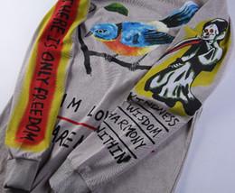 New Fashion Bird Paintings Australia - 2019 NEW Fashion fashion high quality cotton long sleeve T-shirt Graffiti Skull Hand-painted Bird Long Sleeve T-shirt Men Women T-shirt