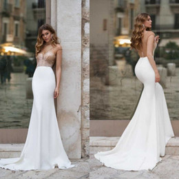 $enCountryForm.capitalKeyWord Australia - 2020 Gold Design Wedding Dresses Backless V Neck Satin Bride Gowns Vintage Mermaid Wedding Bridal Dress