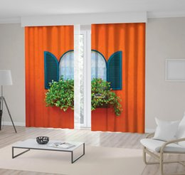 curtain painting Australia - Window Box Flowers Orange Painted Wall Countryside Street Bright Colored House Vintage Theme Printed Curtain