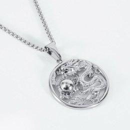 ancient chinese silver Australia - Chinese Ancient Mascot Dragon Pendant Necklace Chain Iced Out Gold Silver Cubic Zircon Men's Hip hop Jewelry For Gift