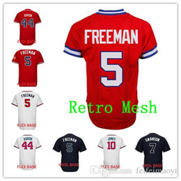 52c801dc1f1 Mix Order 5 Freddie Freeman Baseball Jersey Men's 44 Hank Aaron 10 Chipper  Jones Baseball jerseys Cheap Good Quality