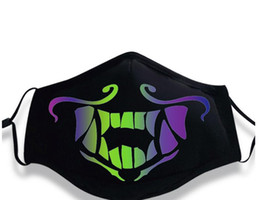 Easter Cosplay UK - Cosplay Mouth-Muffle Mask Luminous Cotton Dustproof Black Winter Warm Adult Unisex Halloween Halloween Carnival Outdoor Party