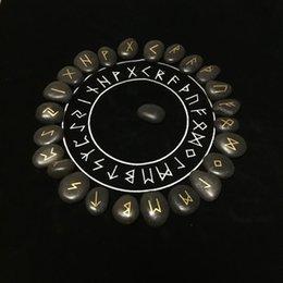 25pcs set Engraved Riverstones Viking Rune Stones Set Carved Black Lettering Board Game Divination Astrology Altar Amulet Sign Y200421 on Sale