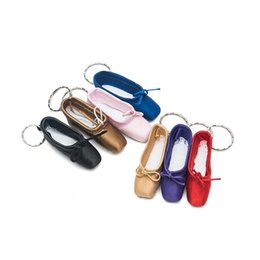 Flat keychain online shopping - Mini Ballet Shoes Car Keychain Satin Flats Shoe Designs Women Key Buckle For Party Gift Keyring Jewelry Pure Color me E1