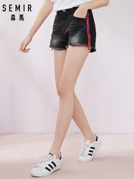 Hair Color Edges Australia - SEMIR 2019 summer new denim shorts female letter tide webbing multi color waist hot shorts hole hair edge tide