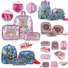 Discount cross pens pencils Kid Girls 3Pcs Set Backpack Unicorn Avengers Sofia LOL Ice Dog Car School Lunch Bag Pencil Pen Case Rucksack Bookbag For
