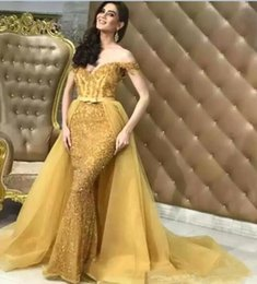 $enCountryForm.capitalKeyWord Australia - 2019 Gold Mermaid Evening Dresses Detachable Train Off the shoulder Bling Bling Sexy Lace Cocktail Party Dress