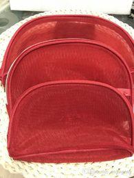 $enCountryForm.capitalKeyWord Australia - Women red color mesh classic pattern 3pcs set vanity luxury makeup organizer bag toiletry clutch pouch boutique VIP gift