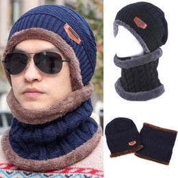 wholesale ski suits NZ - Mens Womens Camping Hat Winter Beanie Baggy Warm Fleece Ski Cap + Neckerchief Apparel Accessories Men's Hat Collar Suit