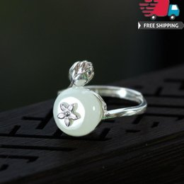 Ring Adjust Size Australia - Pure Sterling Rings New Arrival Vintage Charm 925 Silver Natural Hotan Jade Safety Buckle Bud Lotus Ring Hatch Can Adjust Nation Wind