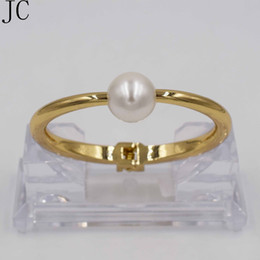 ElEgant pEarl sEt banglEs online shopping - Luxury Dubai Crystal Bracelet Gold Filled Bangles For Women Elegant Pearl Jewelry Cuff Bangle
