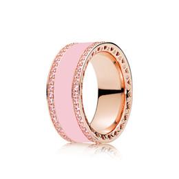 Gold Pink Rings For Women Australia - Luxury Pink Enamel Women Wedding RING Original Box for Pandora heart 925 Silver 18K Rose gold Rings Set Gift Jewelry