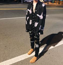 Ingrosso 2019SS New Fashion AMIRI High Street Black Patch Damaged Washed Pierced Jeans uomo Stretch pantaloni stretti gamba shippin libero