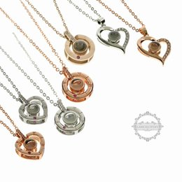rose gold round pendant necklaces Australia - rose gold silver round heart 100 languages I love you love projection pendant gift memory wedding necklace 6390378